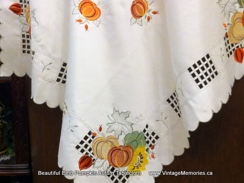 Beautiful Emb Pumpkin Autum Tablecloth
