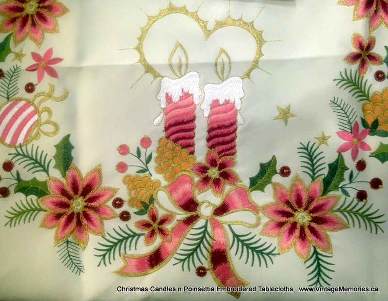 Christmas Candles n Poinsettia Embroidered Tablecloths