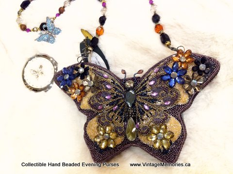 Collectible Hand Beaded Evening Purses with butterfly