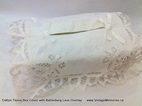 Cotton Tissue Box Cover with Battenburg Lace Overlay.