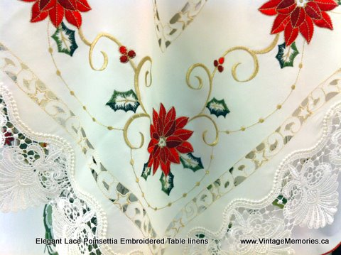 Elegant Lace Poinsettia Embroidered Table linens