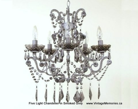 Five Light Chandelier in Smoked Grey