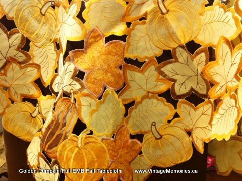 Golden Pumpkin Full EMB Fall Tablecloth