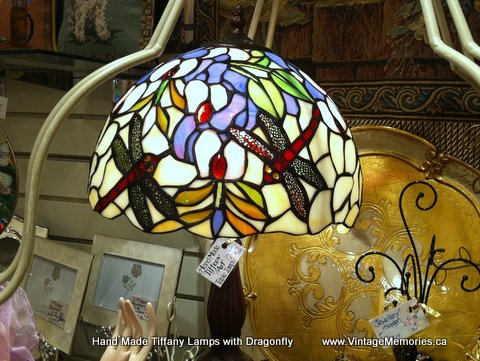 Hand Made Tiffany Lamps with Dragonfly