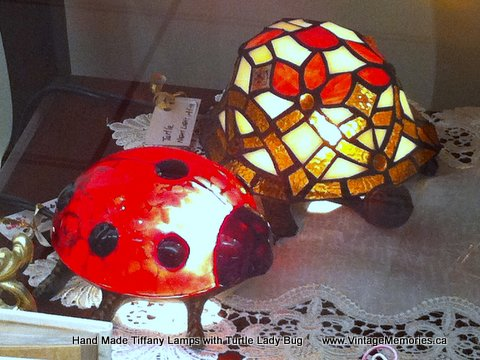 Hand Made Tiffany Lamps with Turtle Lady Bug