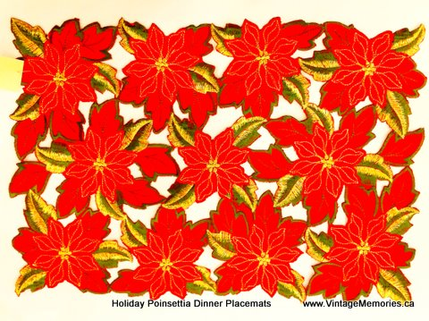 Holiday Poinsettia Dinner Placemats