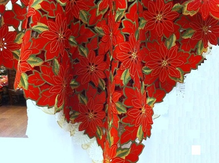 Poinsettia Tablecloth solid red