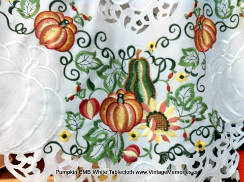 Pumpkin EMB White Tablecloth