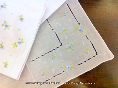 Rose Embroidered Handkerchief