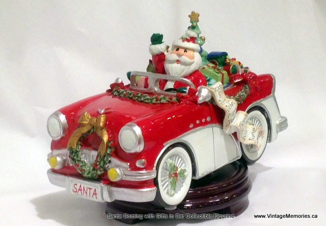 Santa Coming with Gifts in Car Collectible Musical Figurine