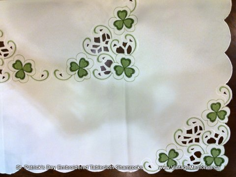 St. Patrick's Day Embroidered Tablecloth Shamrocks