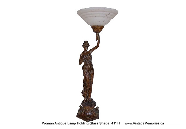 "Woman Antique Lamp Holding Glass Shade  42"" H"