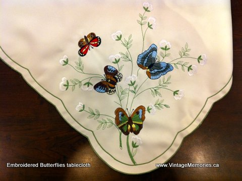 butterflies embroidered tablecloth