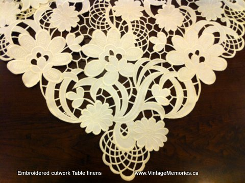 embroidered cutwork ecru table linens