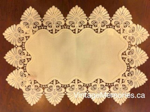 Victorian lace table linen