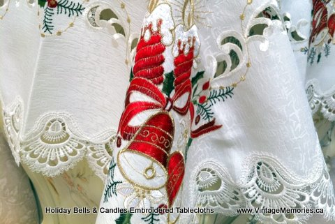 holiday Xmas bells embroidery table linen.
