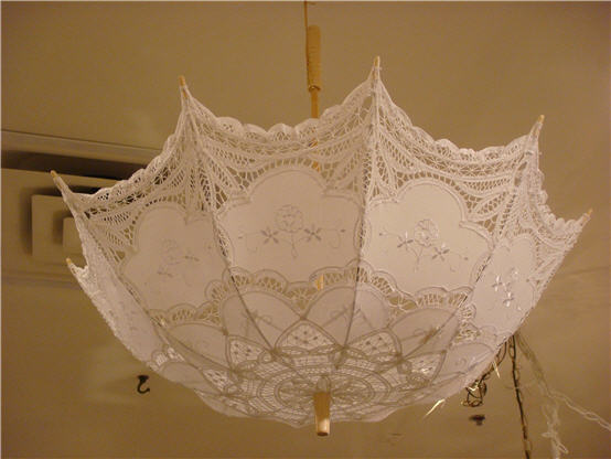 cotton battenburg lace parasol white or cream color
