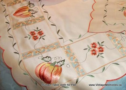 pumpkin tablecloth at Vintage Memories