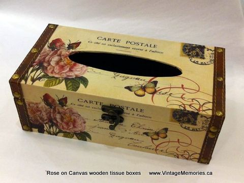 rose on canvas wooden tissue boxes